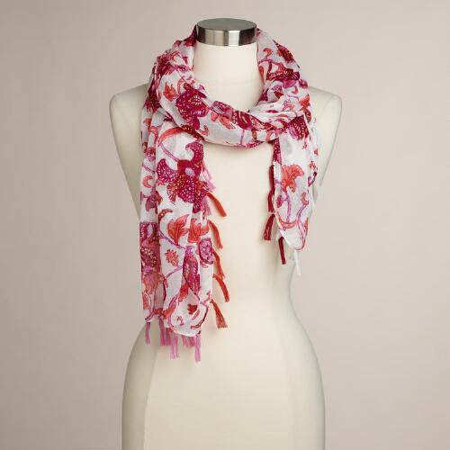 Pink and Orange Tassel Scarf