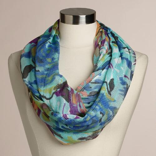 Mint Floral Infinity  Scarf