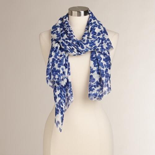 Blue and White Floral Scarf