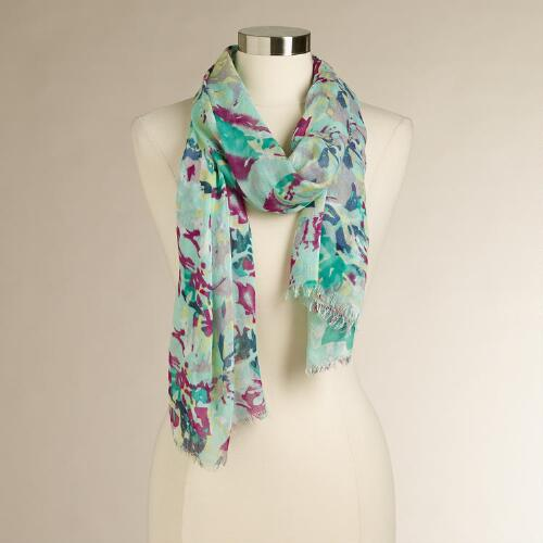 Mint Floral Scarf