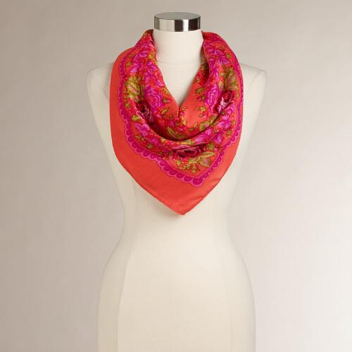 Red Floral Square Scarf