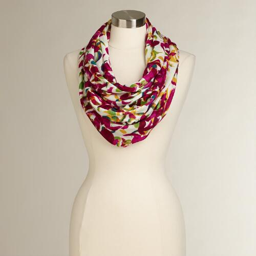 Fuchsia Leaves Infinity Scarf