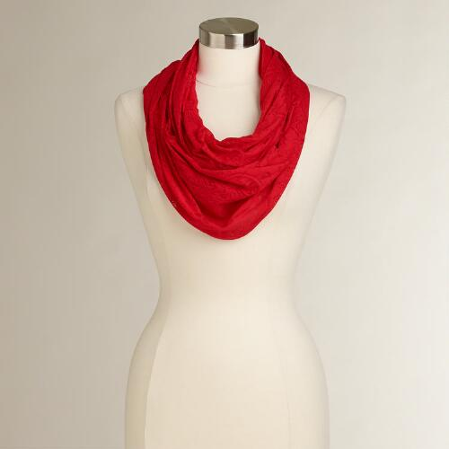 Red Jersey Burnout Infinity Scarf