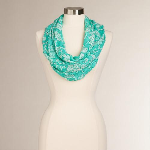 Aqua and White Floral Infinity Scarf
