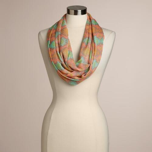 Peach and Aqua Ikat Infinity Scarf