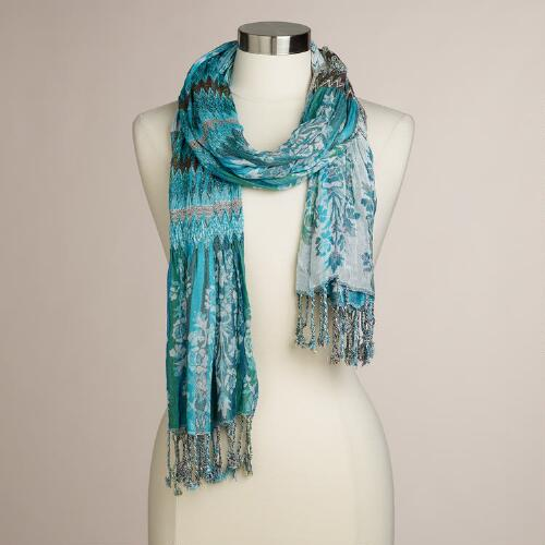 Blue Woven Ruched Scarf