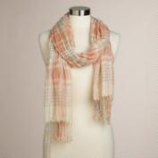 Pink Plaid Ruched Scarf