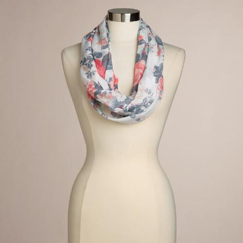 White and Pink Floral Infinity Scarf