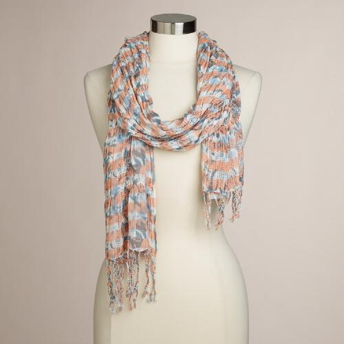 Peach Floral Ruched Scarf