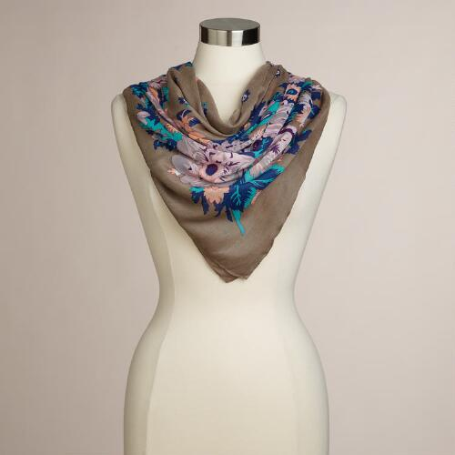 Taupe Floral Square Scarf