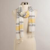 Yellow Ruched Striped Scarf
