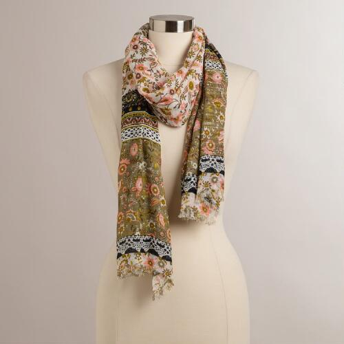 Pink and Olive Floral Scarf