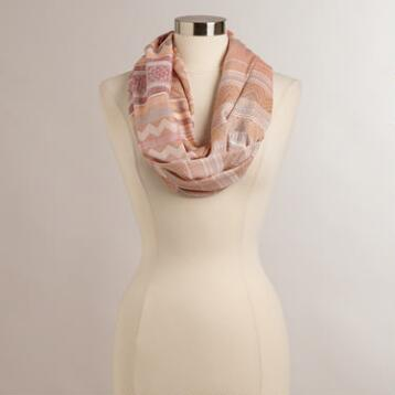 Peach Woven Infinity Scarf