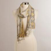 Yellow and Gray Woven Ikat Scarf