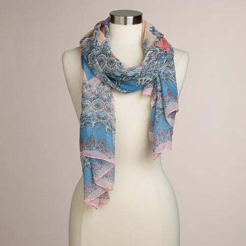 Blue and Pink Medallion Scarf