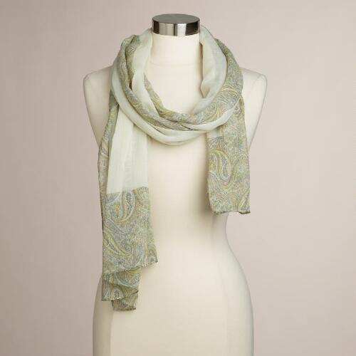 Yellow and Gray Paisley Scarf