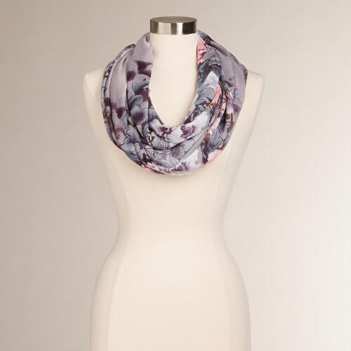 Gray and Pink Floral Infinity Scarf