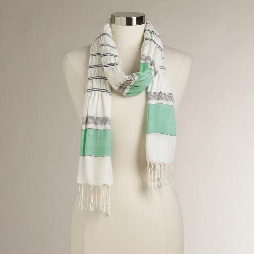 Green Ruched Striped Scarf
