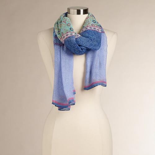 Blue and Purple Mixed Print Scarf