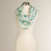 Green and White Floral Infinity Scarf