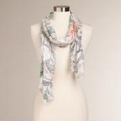 White and Peach Floral Infinity Scarf