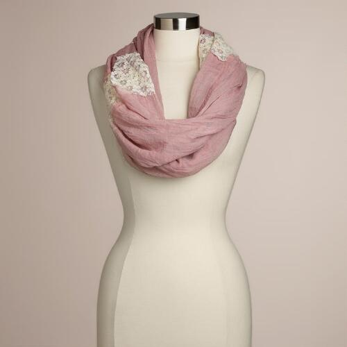 Mauve Lace Infinity Scarf