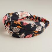 Navy and Pink Floral Turban