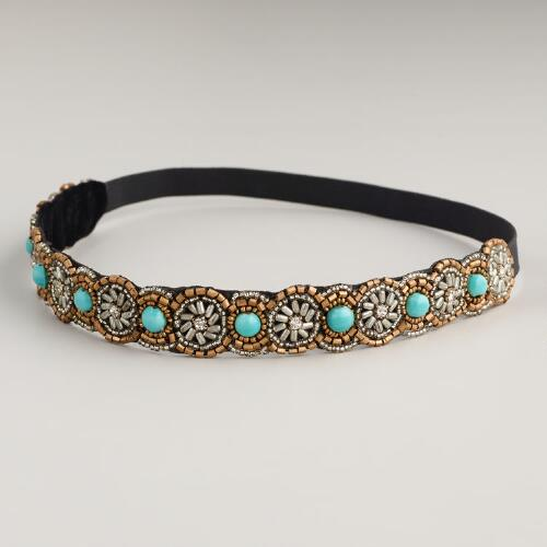 Turquoise Beaded Headband