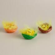 4-Piece Boxed Rayon Chicks in Nests, Set of 3