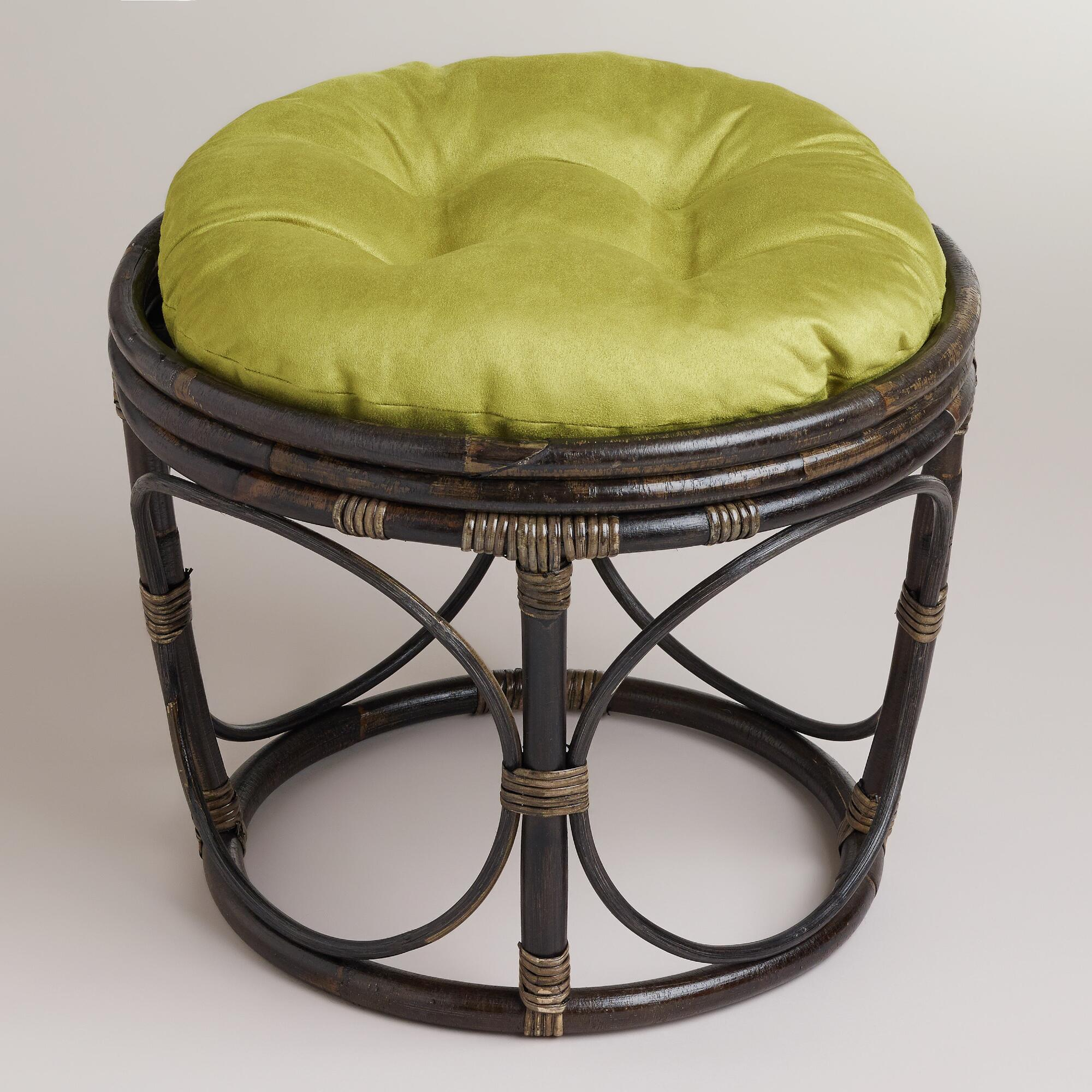 oasis green micro suede papasan stool cushion world market