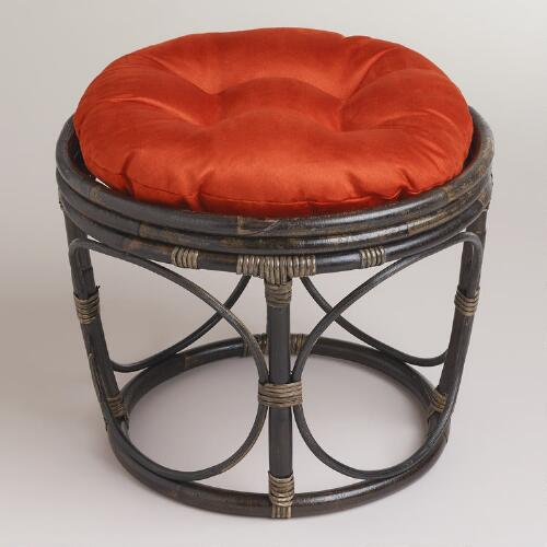 Rust Papasan Micro Suede Stool Cushion