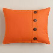 Orange Button Ribbed Lumbar Pillow