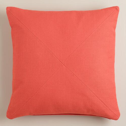 Coral Herringbone Cotton Throw Pillow