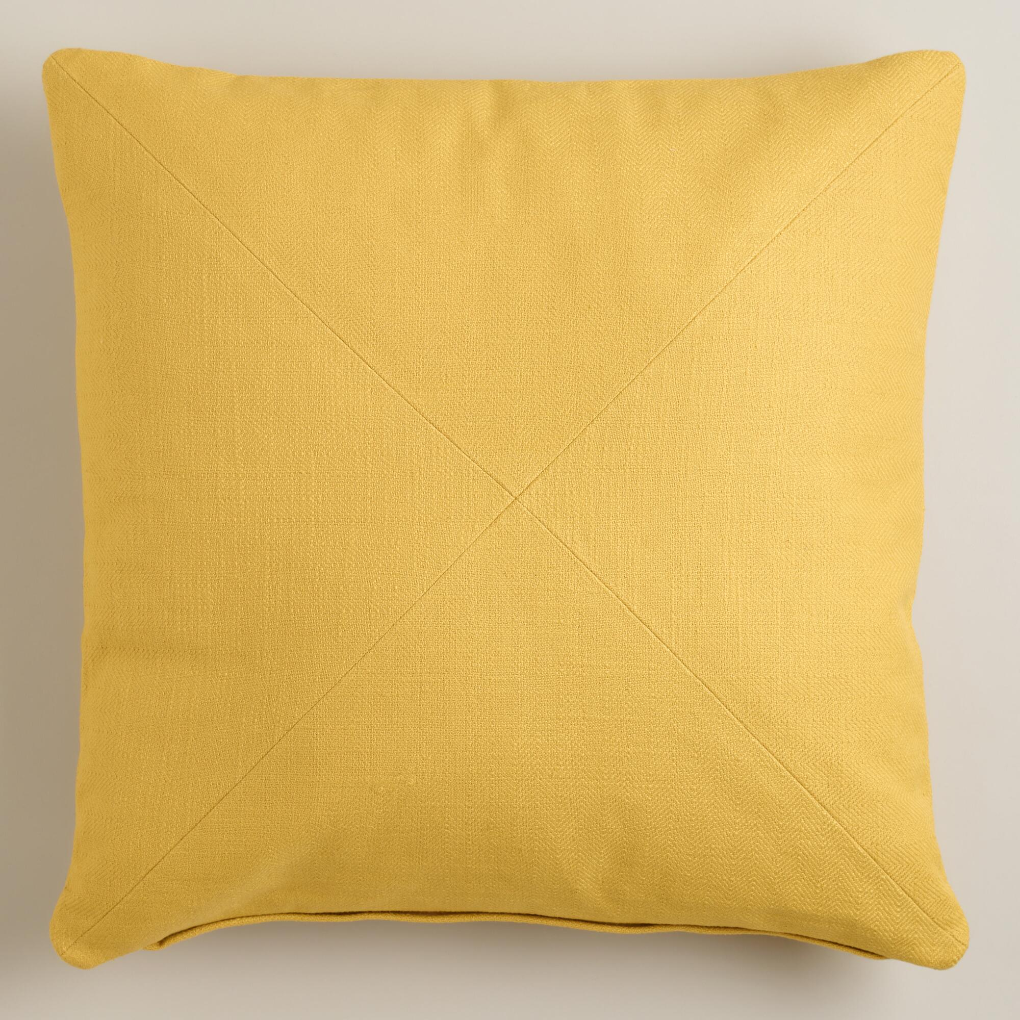 Throw Pillow Yellow : Yellow Herringbone Cotton Throw Pillow World Market