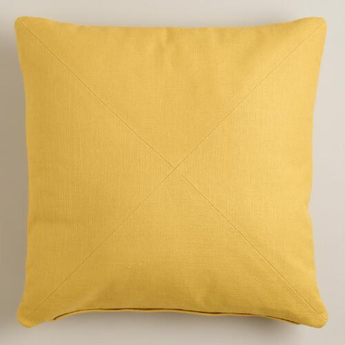 Yellow Herringbone Cotton Throw Pillow