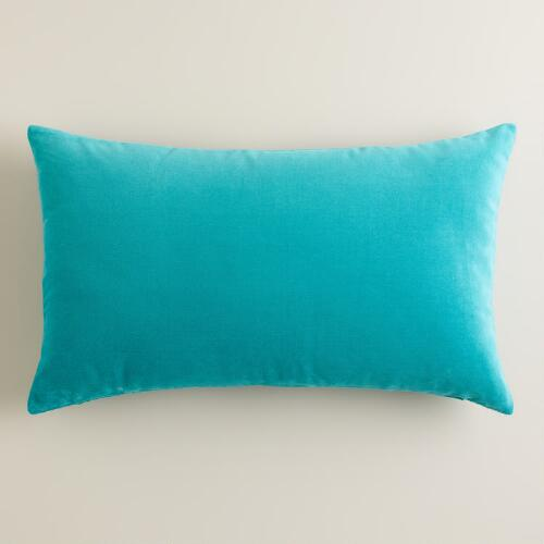 Aqua Velvet Lumbar Pillow