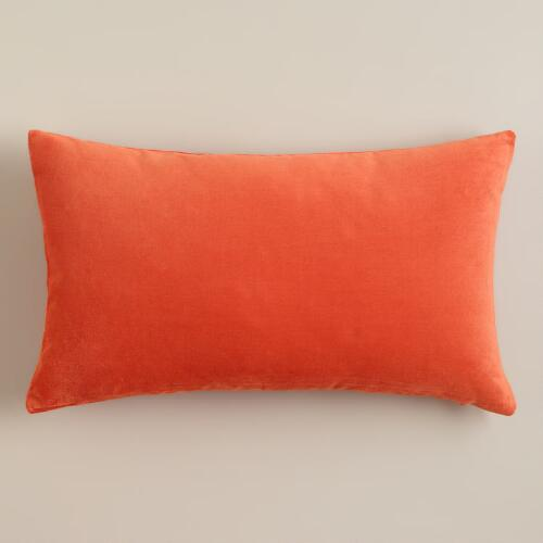 Koi Orange Velvet Lumbar Pillow
