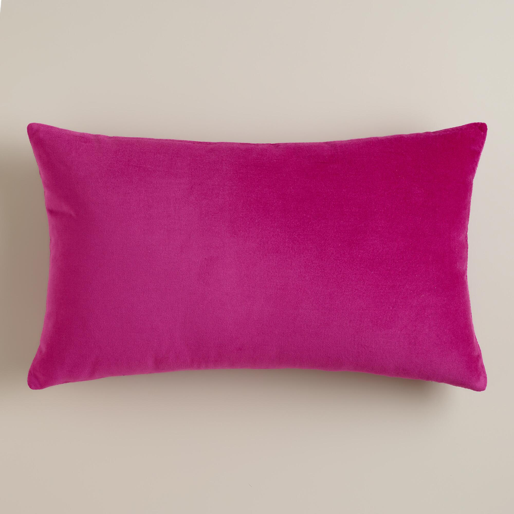 Fuschia Velvet Throw Pillows : Fuchsia Velvet Lumbar Pillow World Market