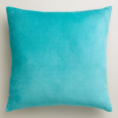 Aqua Velvet Throw Pillows