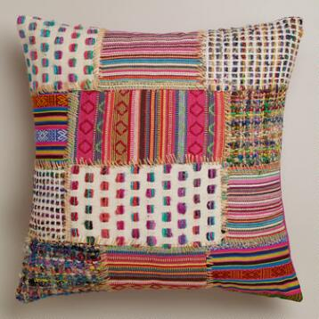 Multicolor Patchwork Whipstitch Throw Pillow