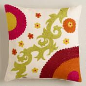 Olive and Orange Suzani Throw Pillow