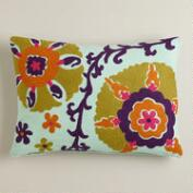 Purple and Green Suzani Lumbar Pillow