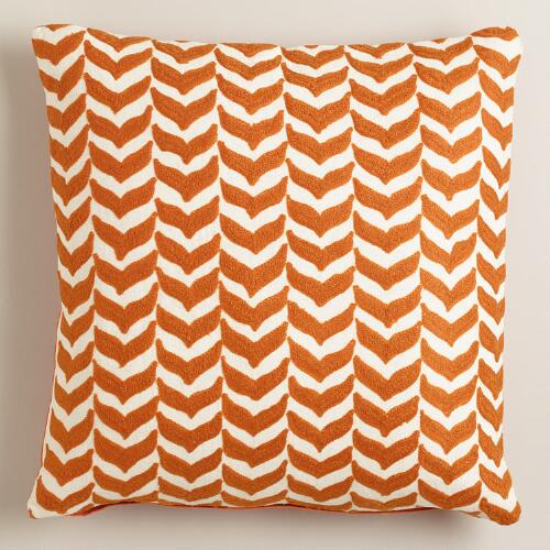 Orange Embroidered Geometric Throw Pillow