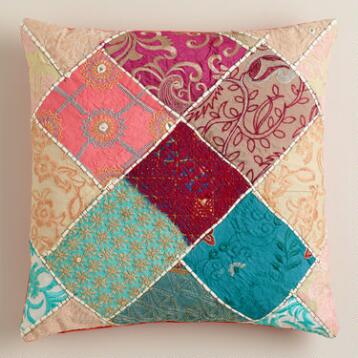 Multicolor Sari Patch Throw Pillow