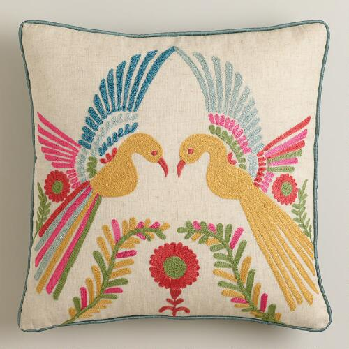 Phoenix Embroidered Throw Pillow