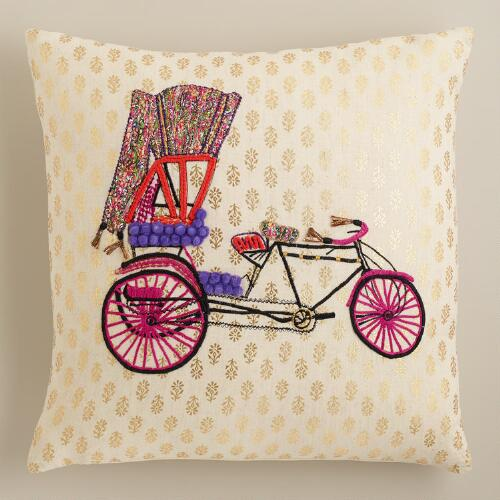 Bike Embroidered Throw Pillow