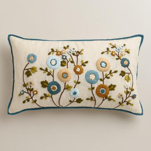 Cool Floral Lumbar Pillow