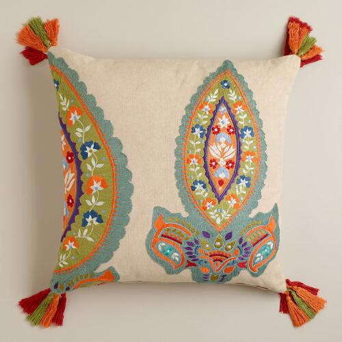 Paisley Embroidered Tassel Throw Pillow