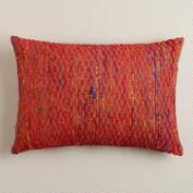 Red Sari Honeycomb Lumbar Pillow