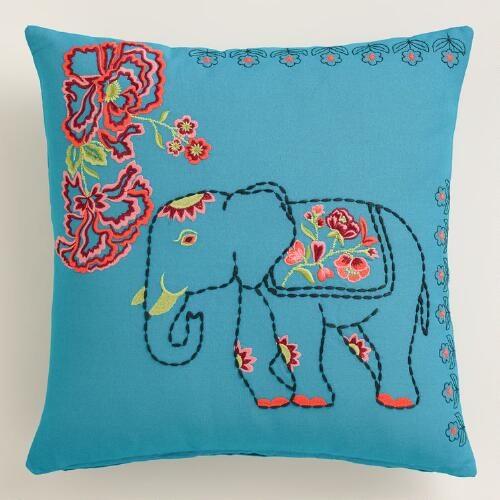 Elephant and Flowers Throw Pillow